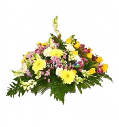 Ramo funebre Gerberas y Rosas