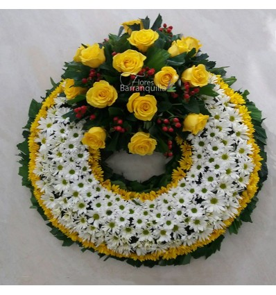 Corona Aro Blanco y Amarillo